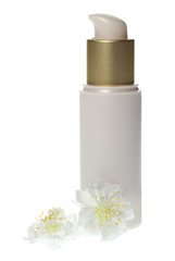Gold and cream cosmetics dispenser bottle  with white blossom