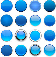 Blue high-detailed round web buttons.