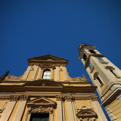 Baroque facade with bell tower, Italy