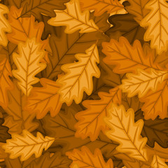 Seamless pattern with autumn oak leaves. Vector EPS 8.