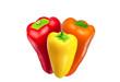 Rote, gelbe und orange Paprika
