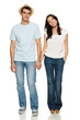 Full length of young couple holding their hands
