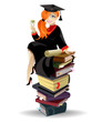 Red haired graduated girl with diploma sitting on books pile.