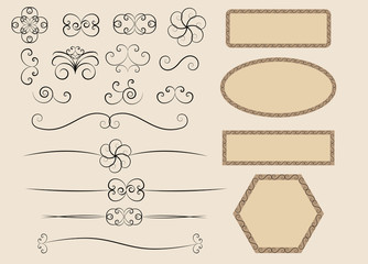 set of retro calligraphic design elements vector illustration