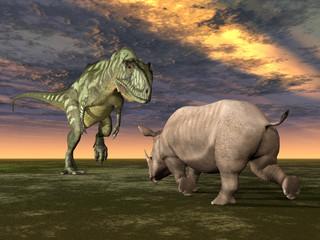 Dinosaurier Yangchuanosaurus mit Rhinozeros