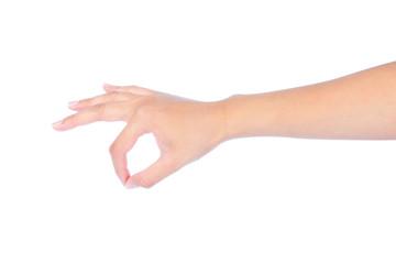 Beautiful woman hand picking