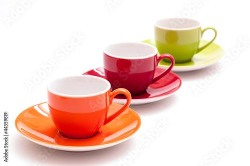 drei bunte espressotassen in einer reihe von schwoab lizenzfreies foto 44359819 auf. Black Bedroom Furniture Sets. Home Design Ideas