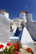 Santorini with windmill in spring time, Greece