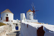 Santorini island  with windmill  in Greece