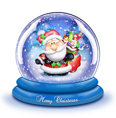 Whimsical Cartoon Santa Snow Globe