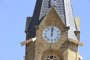 Clock tower on church steeple