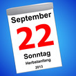 Kalender auf blau - 22.09.2013 - Herbstanfang
