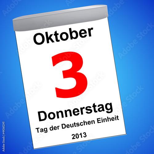 Leinwandbild Motiv Kalender auf blau - 03.10.2013 - Tag der Deutschen Einheit