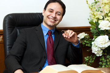 Confident lawyer at his desk