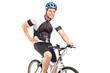 Male biker with helmet posing on a bike