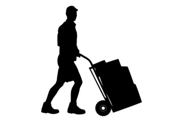 Silhouette of a delivery man pushing a cart with boxes