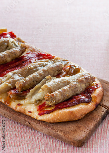 pizza with sausage, eggplant and pepper