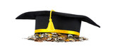 Graduation cap with coins, career concept. Isolated on white