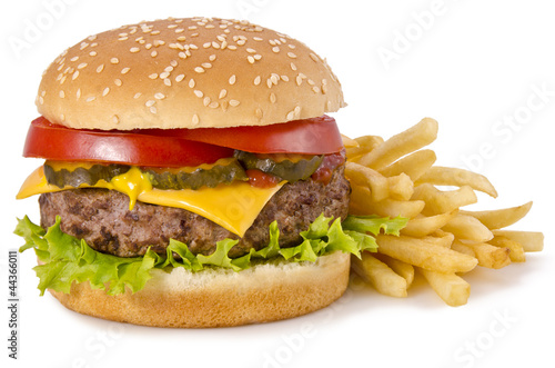 Fototapeta Burger and french fries
