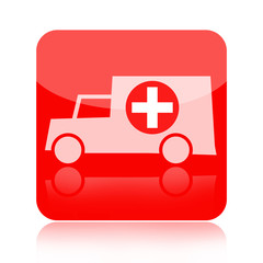 Ambulance car red medical icon