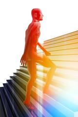Persona subiendo escaleras