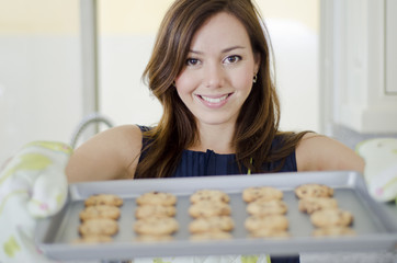 Cute housewife baking cookies