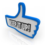 Keep It Up Blue Thumbs Up Word Encouragement Feedback poster