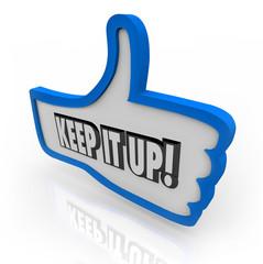 Keep It Up Blue Thumbs Up Word Encouragement Feedback