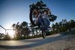 Bmx rider on a ramp