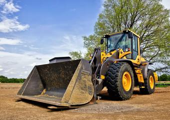 Yellow construction bulldozer