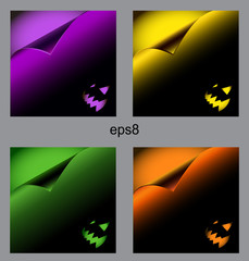 Set of halloween backgrounds, curl paper, eps8