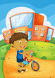 a boy and bicycle