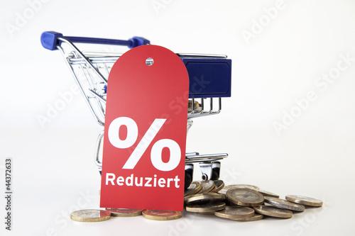 Einkaufswagen mit Prozentschild