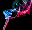 Multi Color Abstract Smoke on black background