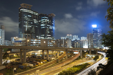 Highway in Hong Kong at night