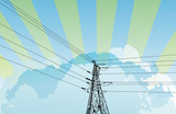 electrical pylon on cloud sky background