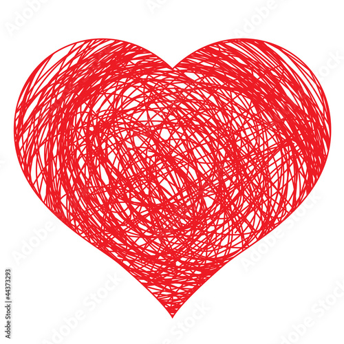 hand drawn red heart, vector illustration for design