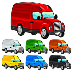 Funny van. Cartoon and vector isolated character.