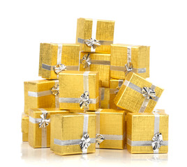 Top view of towel of gold gift boxes