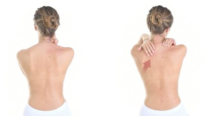 woman massaging her back, shoulders, neck