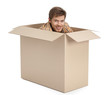 Pretty man hides inside the cardboard