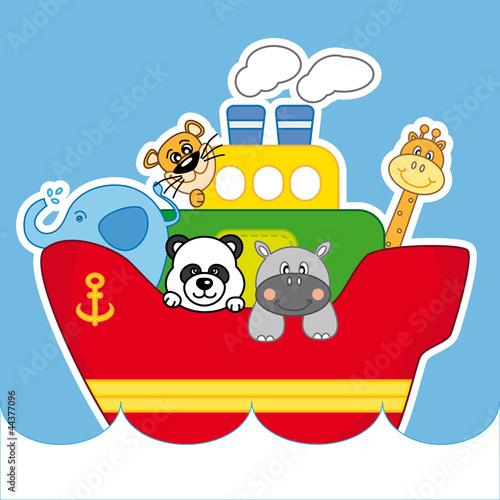 Barco de vapor infantil con animales im genes de archivo - Imagenes de barcos infantiles ...