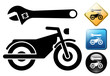 Motorcycle repair pictogram and icons
