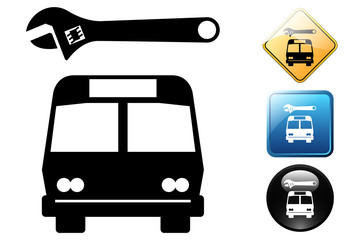 Bus repair pictogram and icons
