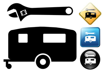 Caravan repair pictogram and icons