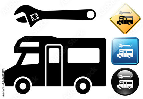 Autocaravan repair pictogram and icons