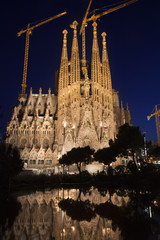 Sagrada Familia vertical night view. Barcelona