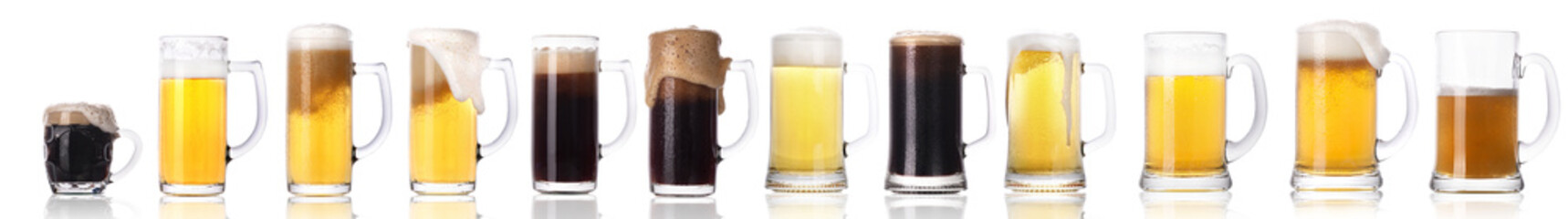 Frosty fresh beer set with foam isolated