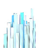 abstract 3d composition with blue rectangular shapes on white