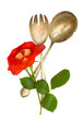 spoon and fork with flower
